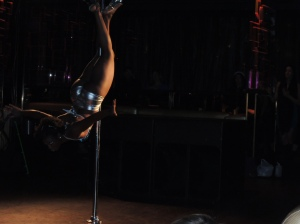 crucifix pole move, Tease Showcase